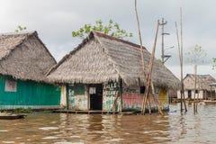 Belen neighborhood of Iquitos. IQUITOS, PERU - JULY 18, 2015: View of floating shantytown in Belen neigbohood of Iquitos, Peru stock photos