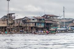 Belen neighborhood of Iquitos. IQUITOS, PERU - JULY 18, 2015: View of partially floating shantytown in Belen neigbohood of Iquitos, Peru stock photography