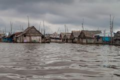 Belen neighborhood of Iquitos. View of floating shantytown in Belen neigbohood of Iquitos, Peru stock photography