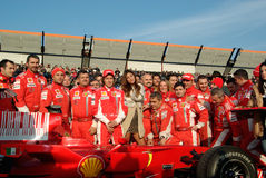 Belen Rodriguez and the ferrari team Stock Photos