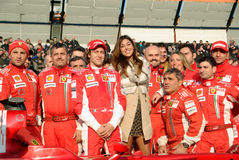 Belen Rodriguez and the ferrari team royalty free stock image
