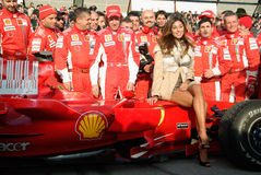 Belen Rodriguez and the ferrari team Stock Images