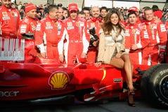 Belen Rodriguez und das Ferrari-Team Stockbilder
