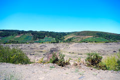 Belesar水库看法在米尼奥省河 库存图片