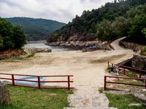 River Miño from Cova Beach. Belesar reservoid, in Lugo, Galicia, Spain: viewpoints Miño river royalty free stock photo