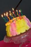 Beleuchten des Geburtstag-Kuchens Lizenzfreies Stockfoto