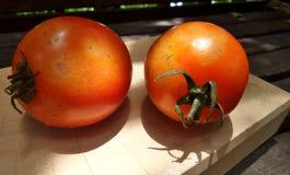 Beleuchten Sie auf roter frischer Tomate auf hölzernem Hackklotz Lizenzfreie Stockfotos