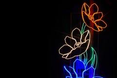 Beleuchten Sie in Form von einer Blume im Nachtschönen Hintergrund Lizenzfreie Stockbilder