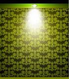 Beleuchtete grüne nahtlose Wand mit Lampe Vektor Stockfotografie