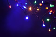 LED lights of garland closed up