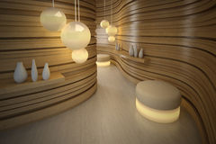 Beleuchtungpuff im modernen Raum. Auslegunginnenraum Stockbild