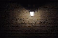Beleuchtungpunkt auf Backsteinmauer Stockfotos