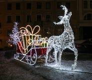 Beleuchtungsanlageren mit Pferdeschlitten lizenzfreies stockbild