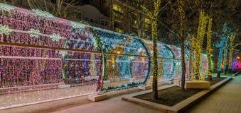 Beleuchtungsdekoration des neuen Jahres und des Weihnachten der Stadt Russland, Stockbild