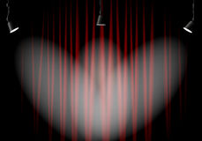 Beleuchtungsstadium mit roten Vorhängen Stockfotografie