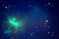 Beleuchtungsterne im nächtlichen Himmel stockfotografie