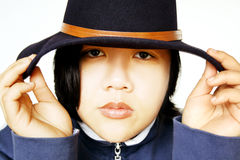 Beleza asiática com chapéu fotografia de stock royalty free
