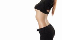 Beleza asiática, corpo magro do modelo da mulher com copyspace para o produto Imagem de Stock Royalty Free