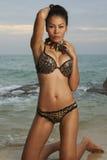 Beleza asiática na praia ensolarada Foto de Stock