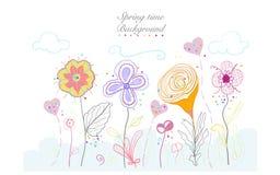 A beleza colorida abstrata da garatuja do tempo de mola floresce o fundo do design floral da ilustração Fotos de Stock Royalty Free