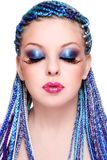 Beleza com cabelo azul Fotos de Stock