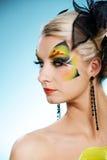 Beleza com face-arte da borboleta Foto de Stock Royalty Free