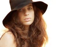 Beleza com um chapéu Imagens de Stock Royalty Free
