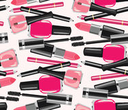 A beleza compõe o teste padrão sem emenda dos cosméticos da forma Foto de Stock