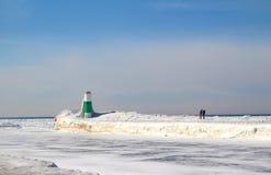 A beleza congelada do Lago Michigan Fotos de Stock