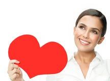 Beleza da mulher com amor vermelho do ` s do Valentim do coração imagem de stock