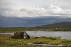 Beleza da natureza na tundra de Finlandia Imagem de Stock