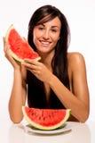 Beleza de Cacuasian que prepara-se para comer a melancia Imagem de Stock
