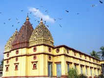 A beleza de um templo com pombo Fotos de Stock Royalty Free
