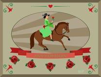 A beleza de uma mulher e de um cavalo Imagens de Stock