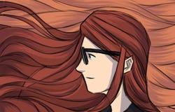 Beleza do cabelo da menina da ilustração do cartão ilustração royalty free