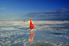 A beleza do lago de sal no por do sol Fotografia de Stock Royalty Free