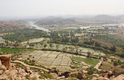 Beleza do rio de Hampi e de Tungabhadra, Hampi, Índia Foto de Stock Royalty Free