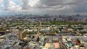 Beleza do vídeo do avião aéreo da Flórida de Miami Beach no verão de 2019 vídeos de arquivo