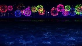 A beleza dos fogos de artifício reflete na água do lago Os fogos-de-artif?cio coloridos iluminam acima o c?u A ideia do festival  vídeos de arquivo
