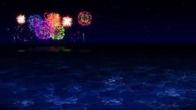 A beleza dos fogos de artifício reflete na água do lago Os fogos-de-artif?cio coloridos iluminam acima o c?u A ideia do festival  video estoque