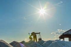 A beleza dos trabalhadores dos fazendeiros de sal Fotografia de Stock Royalty Free