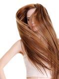Beleza e cabelos longos retos creativos Fotografia de Stock