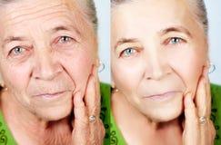 Beleza e conceito do skincare - nenhuns enrugamentos do envelhecimento fotos de stock
