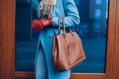 Beleza e fôrma Revestimento vestindo à moda e luvas da mulher elegante, guardando a bolsa marrom do saco fotografia de stock royalty free