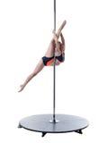 Beleza e força Dança bonita da menina no pilão Imagem de Stock