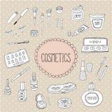 Beleza e garatujas dos ícones dos cosméticos Imagens de Stock