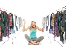 Beleza loura em um wardrobe Foto de Stock Royalty Free