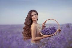 Beleza natural Mulher bonita de provence com as flores de cesta har fotos de stock royalty free