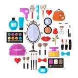 A beleza, o cosmético e a composição Vector ícones lisos ilustração do vetor