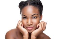 Beleza preta com pele perfeita fotografia de stock royalty free